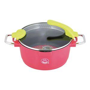 ペペペントラIH対応深型調理パン 24cm ピンク - 拡大画像