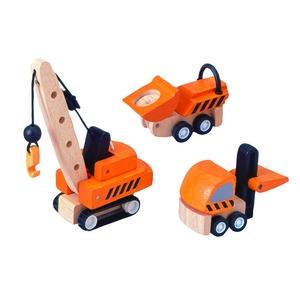 ★PLAN TOYSの木製玩具(木のおもちゃ)★6087★ 建設車セット - 拡大画像