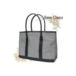 ♪最高級品質BonneChanceおしゃれなキャンバス地トートバッググレー - 拡大画像
