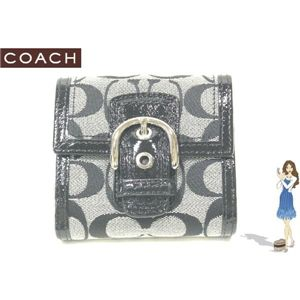 COACH(コーチ) ソーホー シグネチャー フレンチ 2つ折り財布 ブラック 42138 - 拡大画像