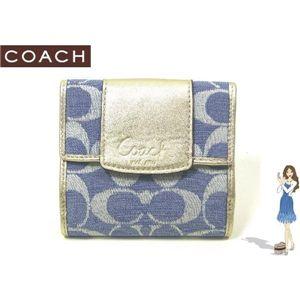 COACH(コーチ) 財布 ペネロピ シャンタン シグネチャー フレンチ パース ブルー 42213 - 拡大画像