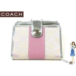 COACH(コーチ) 財布 シグネチャー ストライプ スモール ウォレット ピンク 42248 - 拡大画像