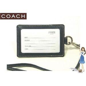 COACH(コーチ) IDカードネックストラップ シグネチャー ランヤード ブラック 60357 - 拡大画像
