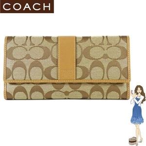 COACH(コーチ) 3つ折り長財布 シグネチャー チェックブック キャメル 41878 円高還元  - 拡大画像