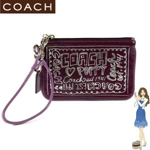 COACH(コーチ) バッグ ポピー パテント リストレット パープル 42868 - 拡大画像
