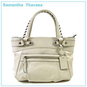【新作2010】samantha thavasa(サマンサタバサ)ステッチ レザー トートバッグ クリームホワイト - 拡大画像