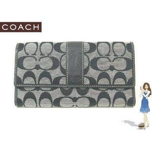 Coach(コーチ) 3つ折り長財布 シグネチャースリムエンベロープ ブラック 41525 - 拡大画像
