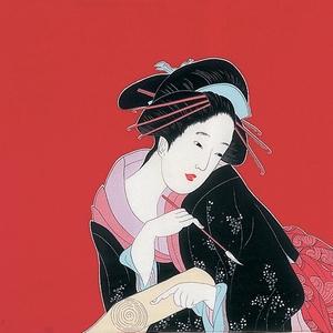 【箱入り】■日本製高級風呂敷■丹後ちりめん浮世絵風呂敷[二巾]■春待ち美人■ - 拡大画像