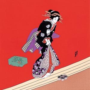 【箱入り】■日本製高級風呂敷■丹後ちりめん浮世絵風呂敷[二巾]■英泉美人■ - 拡大画像
