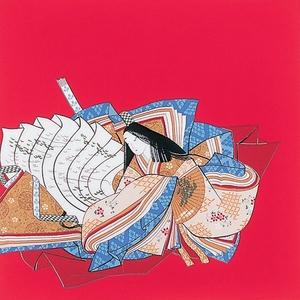 ■日本製高級風呂敷■丹後ちりめん浮世絵風呂敷[二巾]■百人一首■ - 拡大画像