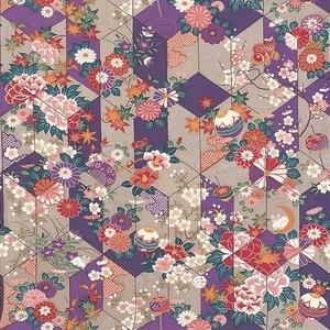【箱入り】■日本製高級風呂敷■はいからもだん友仙ふろしき[二巾]■矢絣散花(紫)■ - 拡大画像