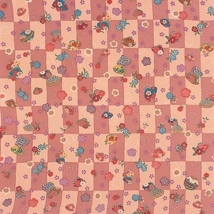 【箱入り】■日本製高級風呂敷■はいからもだん友仙ふろしき[二巾]■貝合わせに桜散らし(ピンク)■ - 拡大画像