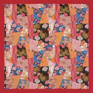 【箱入り】■日本製高級風呂敷■はいからもだん綿大ふろしき■寄裂古布(赤)■ - 拡大画像