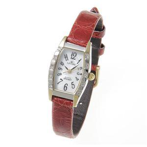 LEOBE(リオベ) 本ワニ革ベルト 腕時計 YL-319LA レッド - 拡大画像