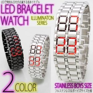 LEDブレスレット腕時計(ウォッチ) シルバーステンレス (ボーイズ/レディースサイズ) - 拡大画像