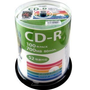 デ‐タ用CD-Rメディア52倍速 レーベル ワイドタイプ プリンタブル白100枚スピンドルHDCR80GP100  - 拡大画像