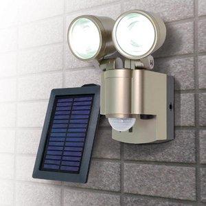 【防犯グッズ】LED×2灯・ELPA 防雨センサーライト(ソーラー) ESL-302SL  - 拡大画像