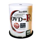 ALL-WAY DVD-R16倍速100枚スピンドル ALDR47-16X100PWX5P 【5個セット】