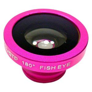 ルーメン クリップ固定式画角180°魚眼レンズ ローズレッド LM-SMFISH-RRD - 拡大画像