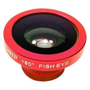 ルーメン クリップ固定式画角180°魚眼レンズ レッド LM-SMFISH-RD - 拡大画像