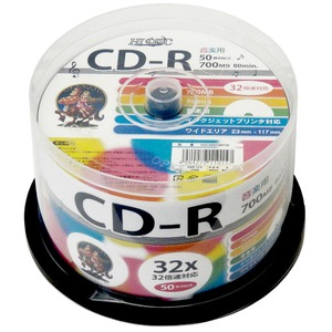 HIDISC 音楽用 CD-R 80分 700MB 32倍速対応 50枚 スピンドルケース入り インクジェットプリンタ対応 ワイドプリンタブル HDCR80GMP50-6P 【6個セット】