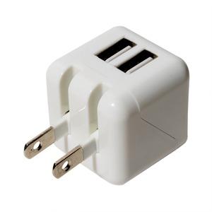 ミヨシ 最大2.4A 2ポート搭載 キューブ型USB-ACアダプタ IPA-US01/WH ホワイト - 拡大画像