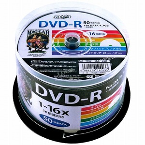 HIDISC(磁気研究所) データ用 DVD-R 16倍速 50枚 ワイドプリンタブル  HDDR47JNP50-6P  【6個セット】 - 拡大画像