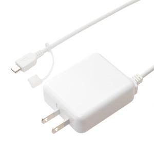 ミヨシ ロングケーブル一体型 USB microB対応 充電用ACアダプタ ホワイト IPA-MC35/WH