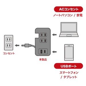 ミヨシモバイルUSB-ACタップ(USB-Aポート・USB-Type-Cポート・ACコンセント付) IPA-24AC3/BK ブラック