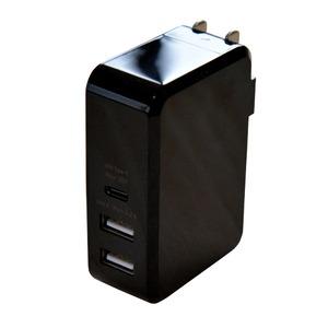 ミヨシ USB-ACアダプタ 3ポートタイプ ブラック IPA-C03/BK