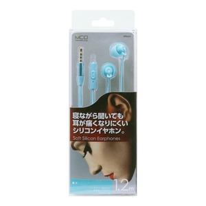 ハンズフリー通話対応 シリコン製寝転びイヤホン EPN-01/BLブルー - 拡大画像