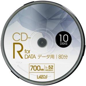 LAZOS CD-Rメディア 52倍速 10枚スピンドル10個セット L-CD10P-10P - 拡大画像