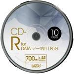 LAZOS CD-Rメディア 52倍速 10枚スピンドル10個セット L-CD10P-10P