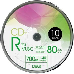 LAZOS CD-Rメディア音楽用 40倍速 10枚スピンドル10個セット L-MCD10P-10P - 拡大画像