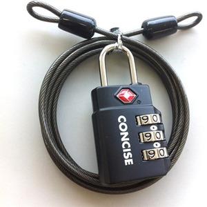 ワイヤー付3桁ダイヤル式TSAロック ブラック TL-06TW/BK - 拡大画像