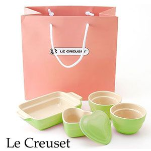 Le Creuset(ル・クルーゼ) ストーンウェア ギフトバッグ入り 4点セット ライム - 拡大画像