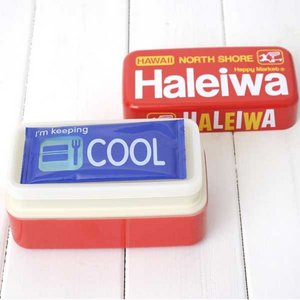 HALEIWA(ハレイワ) 保冷剤付2段ランチBOX レッド - 拡大画像