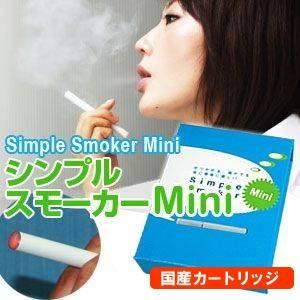 【日本製カートリッジ】電子タバコ  「Simple Smoker Mini(シンプルスモーカー ミニ)」 スターターキット(本体+カートリッジ15本 携帯ケース&ポーチ)  - 拡大画像