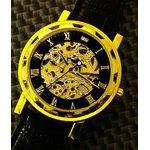 Homberger(オムバーガー)クラシックダブルスケルトン手巻き腕時計 ゴールド