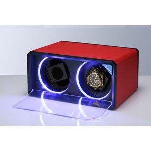 美しく光る LEDツインウォッチワインダー レッド(赤) - 拡大画像