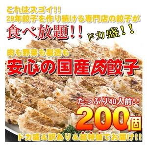 【ワケあり】安心の国産餃子200個!!40人前!! - 拡大画像