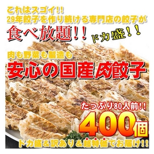 【ワケあり】安心の国産餃子400個!!80人前!! - 拡大画像