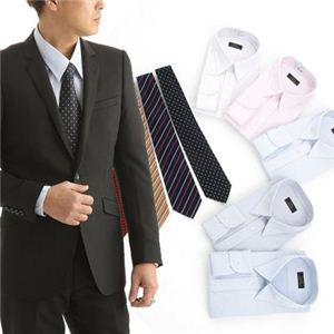 銀座・丸の内のOL100人が選んだワイシャツ&ネクタイ10点セット 50261 L(5色組) - 拡大画像