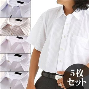 カラーステッチ 半袖Yシャツ 5枚セット Lサイズ - 拡大画像