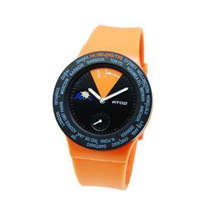 ATOP(エートップ) ワールドタイム ウォッチ VWA-06 オレンジ - 拡大画像