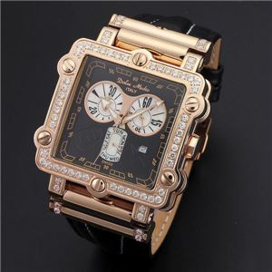 Dolce Medio(ドルチェ・メディオ) DM8018QZPGBK ブラック×ピンクゴールド&ブラック 腕時計 - 拡大画像