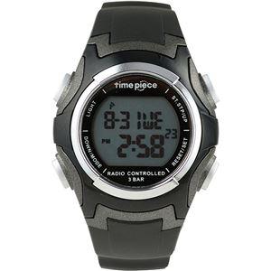 Time Piece(タイムピース) 腕時計 電波時計 ソーラー(デュアルパワー) デジタル ブラック TPW-001BK - 拡大画像