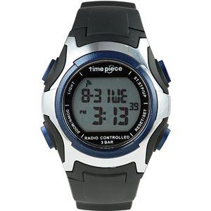 Time Piece(タイムピース) 腕時計 電波時計 ソーラー(デュアルパワー) デジタル ブルー TPW-001BL - 拡大画像
