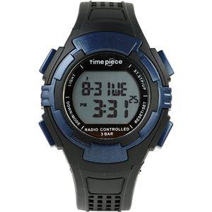 Time Piece(タイムピース) 腕時計 電波時計 ソーラー(デュアルパワー) デジタル ブルー TPW-002BL - 拡大画像