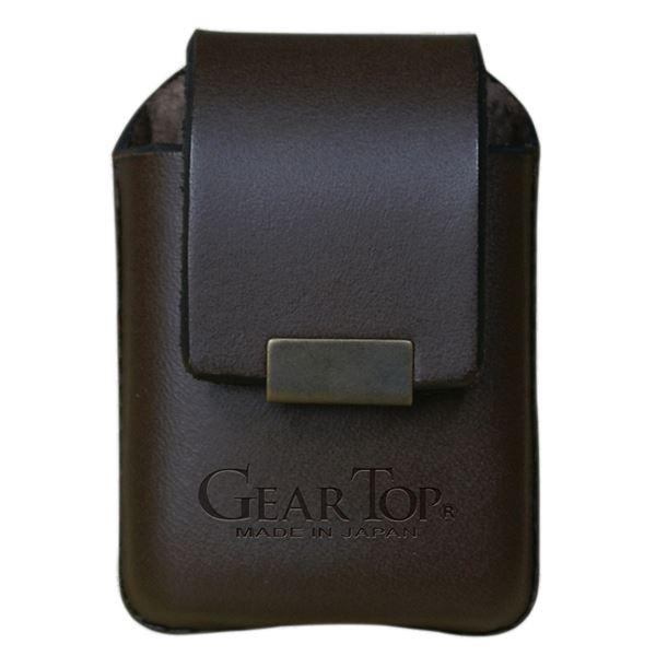 GEAR TOP(ギア トップ) 日本製 レザーライターケース ベルトループタイプ【ブラウン】